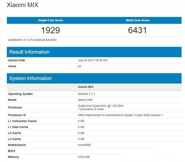 Xiaomi Mi MIX 2 v benchmarku GeekBench