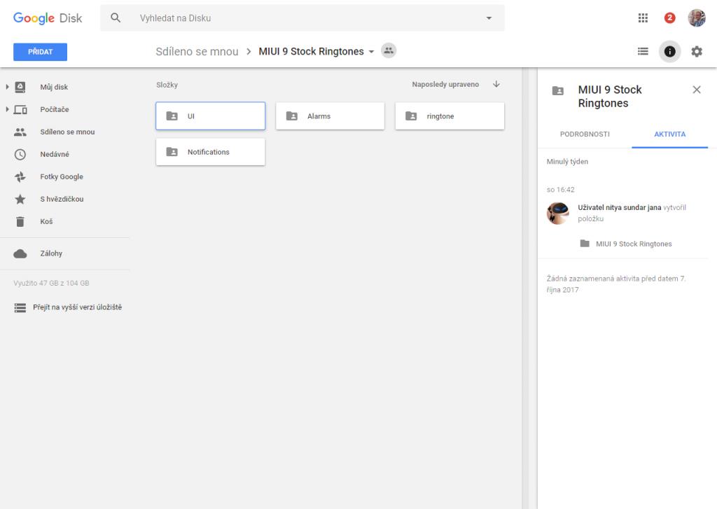 Stáhnout upozorňovací a vyzváněcí tóny z MIUI 9 můžete z Disku Google