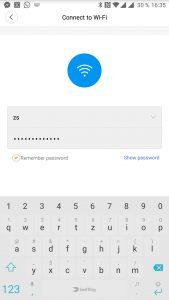 Zadání hesla k Wi-Fi