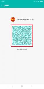 Kontaktní údaje může druhý uživatel vyfotit QR čtečkou