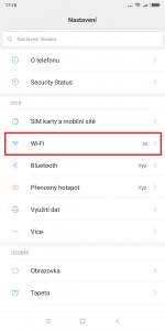 V Nastavení otevřete sekci Wi-Fi