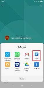 Vyberte aplikaci, přes kterou chcete kontakt sdílet