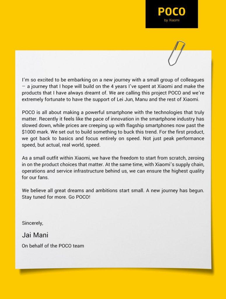Jménem značky Poco komunikuje vedoucí produktový manažer Jai Mani