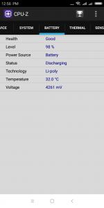 Informace z aplikace CPU-Z - baterie
