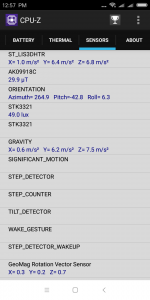 Informace z aplikace CPU-Z - senzory