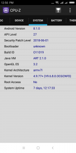 Informace z aplikace CPU-Z - systém