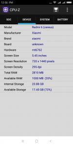 Informace z aplikace CPU-Z - zařízení