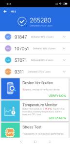 Výsledky Xiaomi Mi 8 v benchmarku AnTuTu