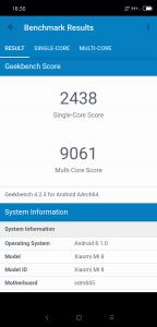 Xiaomi Mi 8 v benchmarku GeekBench