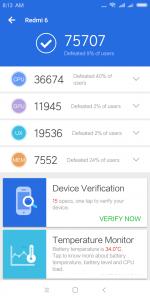 Xiaomi Redmi 6 v benchmarku AnTuTu - měření číslo 1