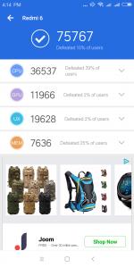 Xiaomi Redmi 6 v benchmarku AnTuTu - měření číslo 2