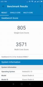 Xiaomi Redmi 6 v benchmarku GeekBench - měření číslo 1