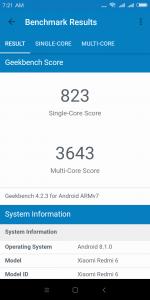 Xiaomi Redmi 6 v benchmarku GeekBench - měření číslo 2