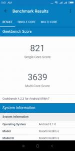 Xiaomi Redmi 6 v benchmarku GeekBench - měření číslo 3