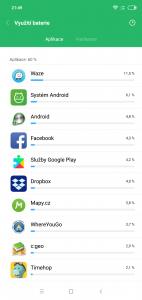 Baterie po náročném dnu - aplikace