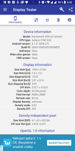 Informace o obrazovce Xiaomi Black Shark