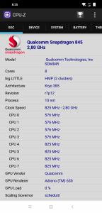 Informace z aplikace CPU-Z: procesor
