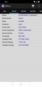 Informace z aplikace CPU-Z: zařízení