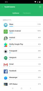 Spotřeba baterie aplikacemi
