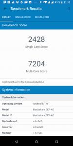 Výsledek v benchmarku GeekBench 4 - měření č. 1