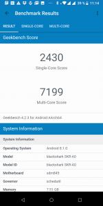 Výsledek v benchmarku GeekBench 4 - měření č. 2