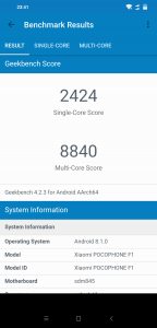 Výsledky Poco F1 v benchmarku GeekBench 4