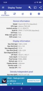 Prametry obrazovky Xiaomi Mi 8 Pro