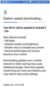 Telefon Xiaomi Mi A1 dostává update na Android 9 Pie