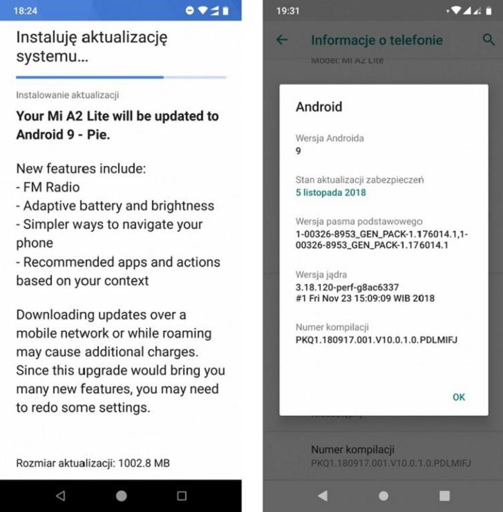 Telefon Xiaomi Mi A2 Lite dostává update na Android 9 Pie