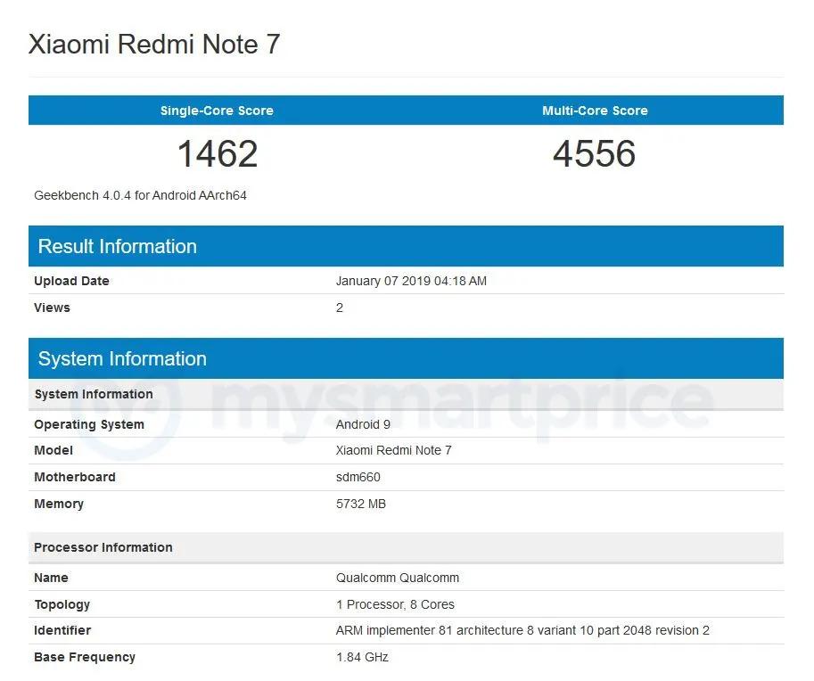 Údajné parametry Redmi Note 7 v GeekBenchi