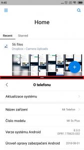 Lišta v režimu rozdělené obrazovky