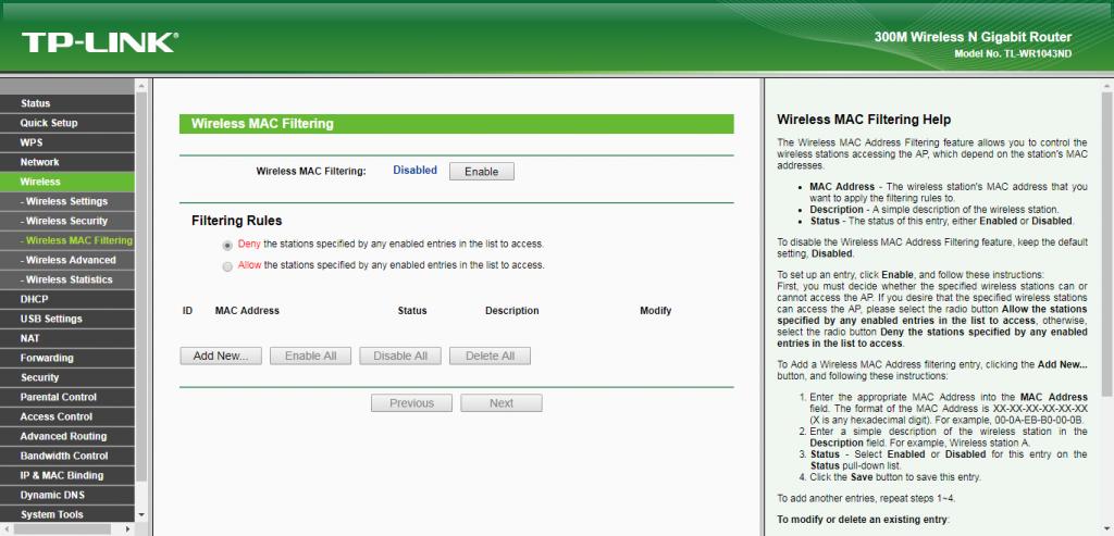 Nastavení filtru MAC adres na routeru TP-Link