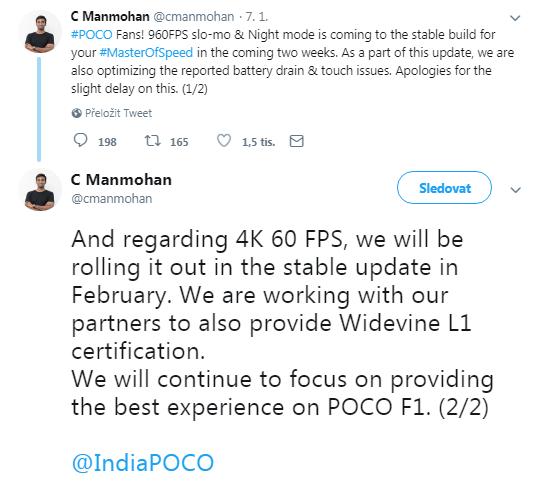 Pocophone F1 bude umět natáčet zpomalená videa ve 4K a 60 fps