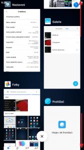 Posouvání seznamem spuštěných aplikací
