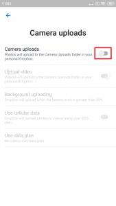 Aktivujte volbu Camera uploads