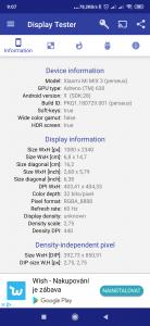 Informace o displeji a grafice z aplikace Display Tester