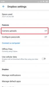 Otevřete sekci Camera uploads