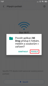 Povolte programu Mi Drop přístup k souborům