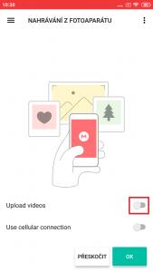 V úvodním nastavení můžete povolit nahrávání videí