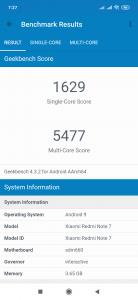Geekbench 4 na Redmi Note 7
