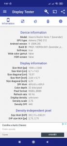 Parametry obrazovky Redmi Note 7 dle Display Testeru