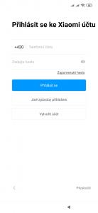Možnost využití Xiaomi účtu