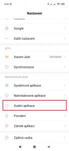 Otevřete položku Duální aplikace