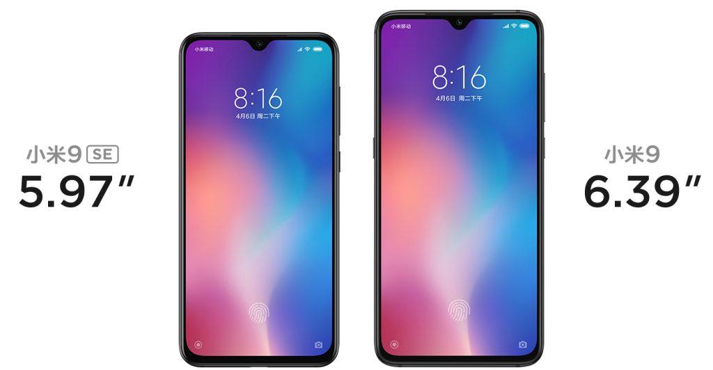 Porovnání velikosti Xiaomi Mi 9 SE a Mi 9