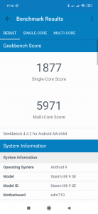 Výsledek v benchmarku GeekBench