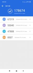 Výsledky AnTuTu Benchmark pro účely recenze Xiaomi Mi 9 SE