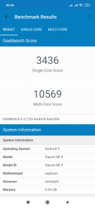 Výsledky GeekBench v rámci recenze Xiaomi Mi 9