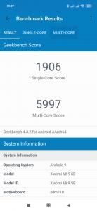 Výsledky Geekbench 4 pro účely recenze Xiaomi Mi 9 SE