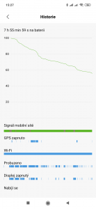 Záznam spotřeby baterie