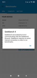 GeekBench se na Xiaomi Mi Play nepovedlo spustit